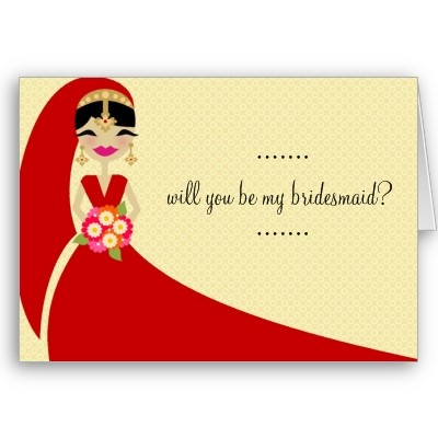 311 Updo Bride Will You Be My Bridesmaid Card Indian Bridesmaidswedding