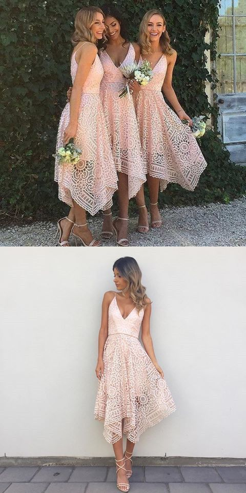 Fancy A Line Spaghetti Straps Asymmetrical Pink Lace Bridesmaid Dress