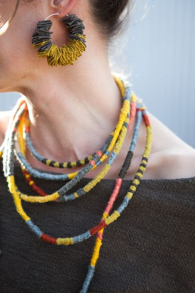 Dyan Ashby is shown here wearing her own hand-constructed and designed naturally dyed foxfiber jewelry. An exquisite compliment to the Fibershed offerings.