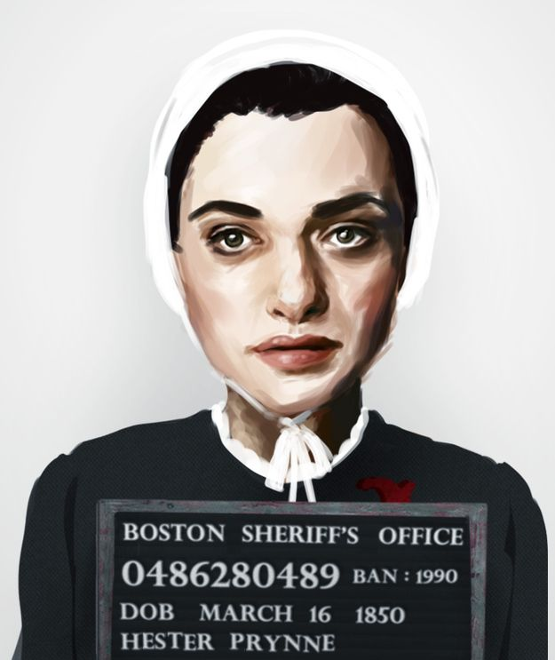 Hester Prynne, The Scarlet Letter  from the 5 criminal mugshots of characters from banned books