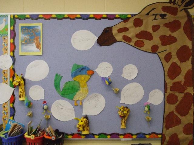 A classroom celebration of Giraffe and Bird!