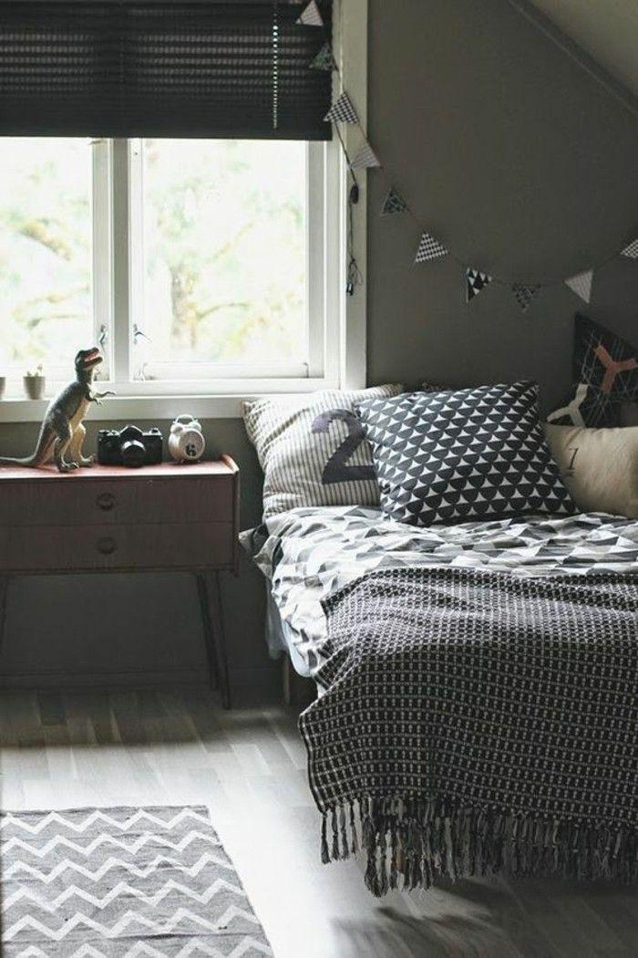 chambre ado ikea en gris anthracite couverture de lit grise