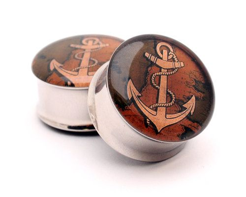 Anchor Picture Plugs Style 2 gauges - $19.99, via Etsy.