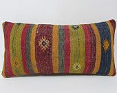 HAND WOVEN knitted kilim pillow sham green large lumbar pillow red throw pillow cover designer decorative pillow floral throw pillow 19760