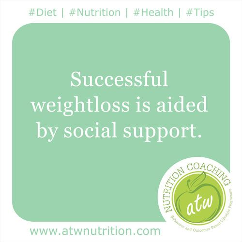 #Diet | #Nutrition | #Health | #Tips Successful weightloss is aided by social support. www.atwnutrition.com