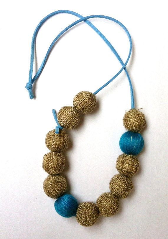 Colorful Necklace with fabric beads (made to order). $20.00, via Etsy.