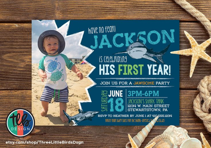 shark birthday invite, boy first birthday jawsome shark bite invitation, 1st birthday printable invitation, personalized by Heather Hughes