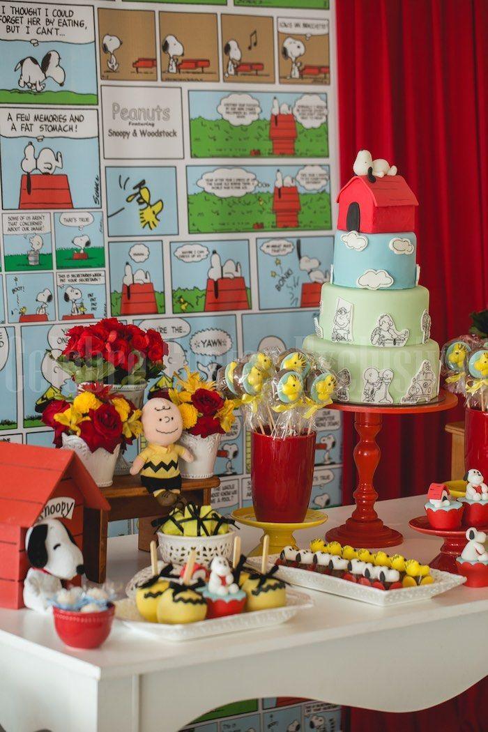 Decoração de festa tema Snoopy com quadrinhos divertidos