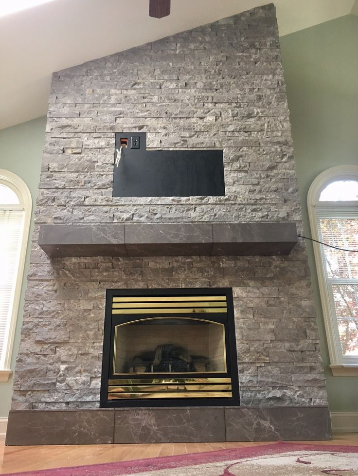 Update Your Old Fireplace With Ledger Stone. #fireplace
