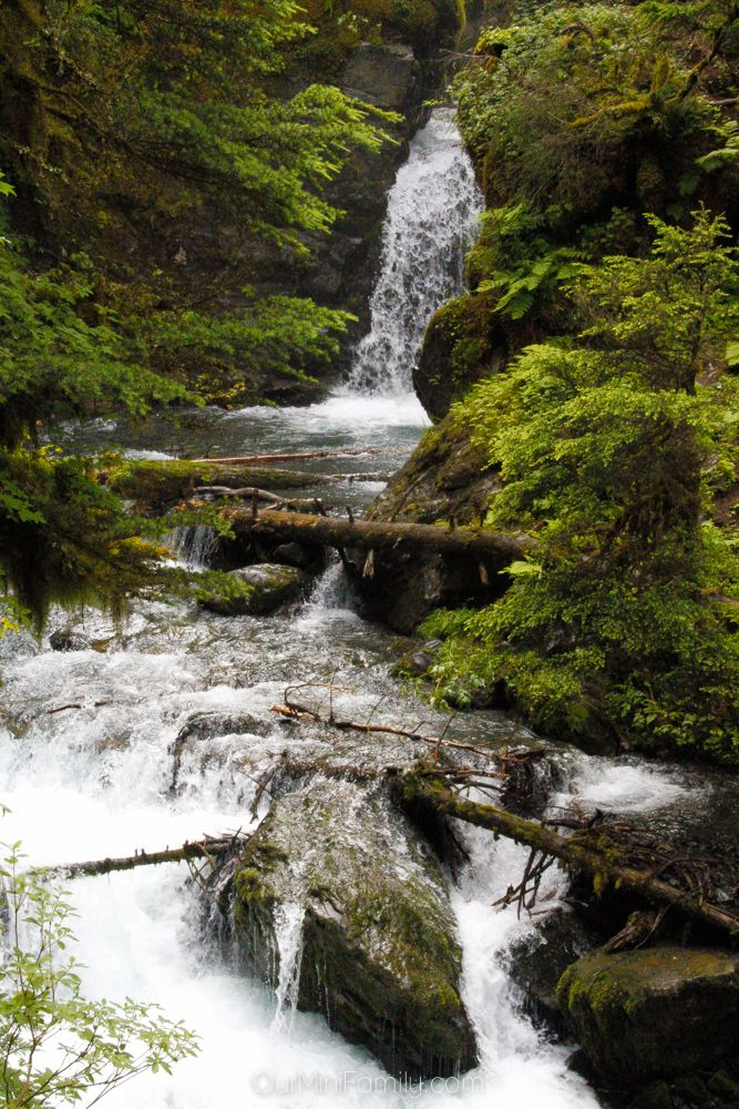 Just a short drive from Turnagain Arm in Anchorage, you can find yourself only a short hike away from one of the Alaskan rainforest waterfalls at Virgin Falls in Girdwood, Alaska!