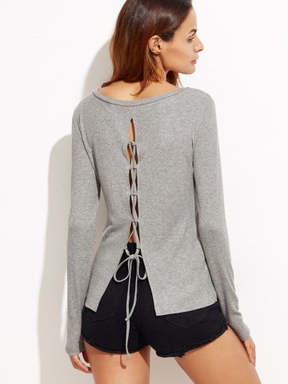 Heather Grey Lace Up Back T-shirt