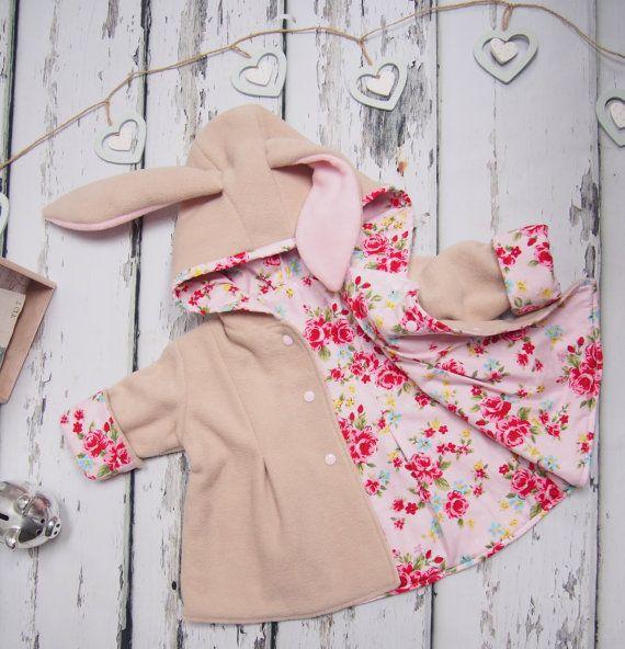 Bunny Jacket - Girls Clothing - Baby Girl - Bunny Coat - Animal Jacket - Hood with Ears - Easter Bunny - Easter Gift - Girl Toddler - Rabbit