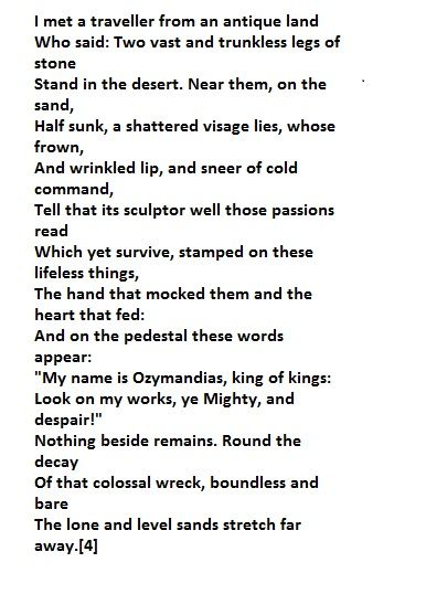 the best ozymandias poem ideas poem analysis ozymandias in four syllables euml140eacute146zieuml136matildebrvbarndieacute153s or three syllables is a sonnet written by english r tic poet percy bysshe shelley