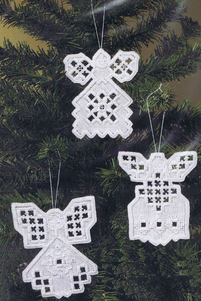 Three pretty white tree decorations, a simple introduction to this gentle art.