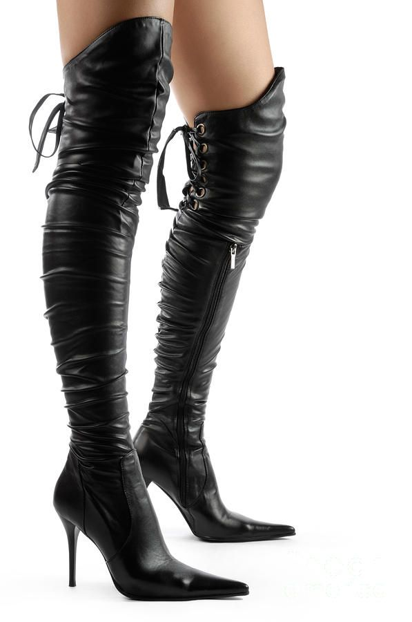hot boots | ... Boots Photograph - Black Sexy Thigh High Stiletto Boots Fine Art Print