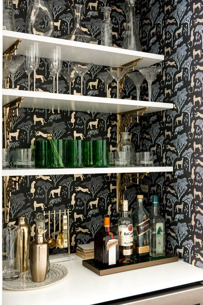 Wallpapered shelves; cocktail time! | Serengeti (Ebony) | Via @apartmenttherapy