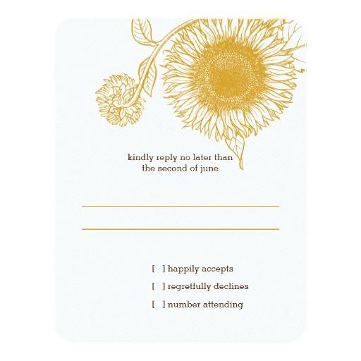 Vintage Sunflower | Wedding Reply RSVP Card