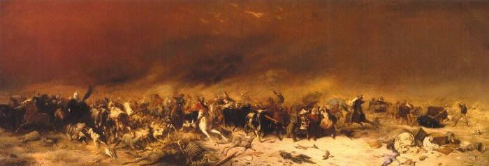 Black Thursday, February 6th, 1851 is considered to be one of Australia's most important colonial paintings and one of the State Library's most valuable. It depicts a devastating bushfire that struck Victoria in February 1851. Many died in the fire, which was so fierce and far reaching that its glow could be seen by ships in Bass Strait.  (Painted by William Strutt and Courtesy of State Library of Victoria)…