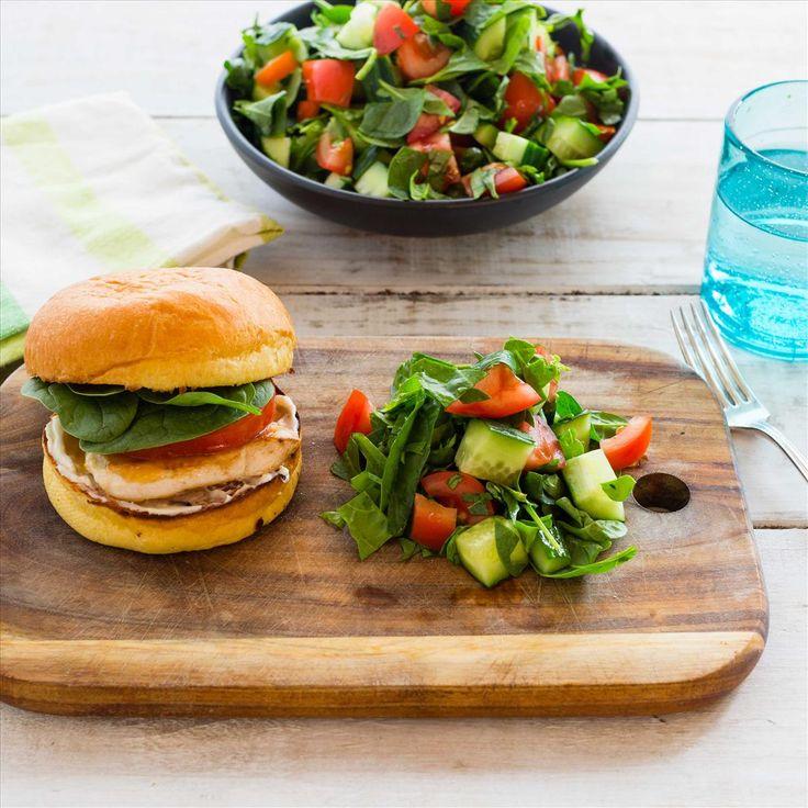 Mango Chicken Burgers with Chopped Salad