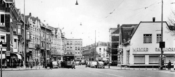 Nieuwe Binnenweg hoek Mathenesserlaan met het Westerpaviljoen in 1957