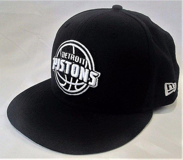 DETROIT PISTONS Black White NEW ERA 59Fifty Official NBA Basketball HAT - 7 1/8 #NewEra59Fifty #StructuredFlatBillFittedBaseballHat #DetroitPistons