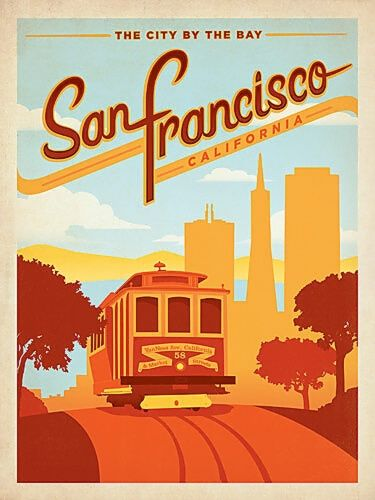 San Fransisco, California vintage travel poster