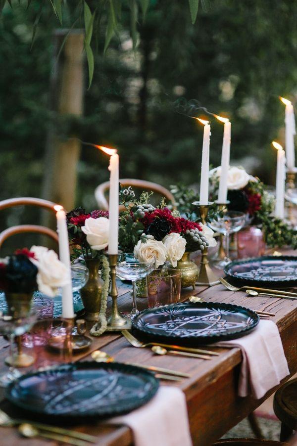 Romantic Outdoor Winery Ideas With Marsala - Polka Dot Bride - Perth Wedding Vintage Tablescape