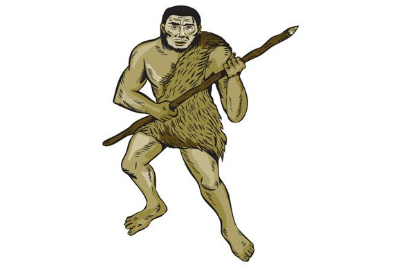 Neanderthal Man Holding Spear Etchin by patrimonio on Creative Market
