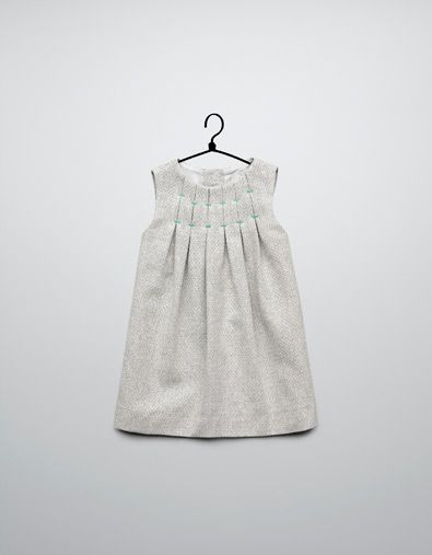 Zara, I love you!!! pleated dress coloured thread details - Dresses - Baby girl (3-36 months) - Kids - ZARA United States