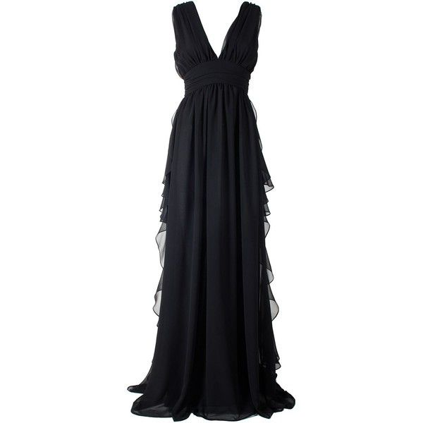 Fluted Ruffles Chiffon Maxi Dress (1.115 BRL) ❤ liked on Polyvore featuring dresses, gowns, long dress, nero, womenclothingdresses, sleeveless maxi dress, ruched maxi dress, long chiffon evening dress, empire waist maxi dress and chiffon gowns