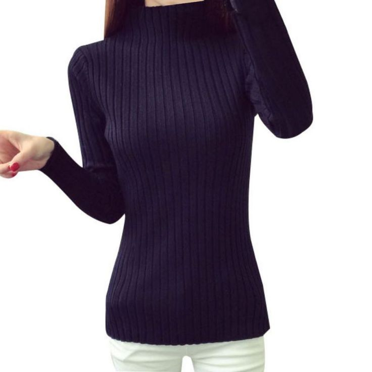 Knitted Turtleneck Sweater Women Autumn Winter Long Sweaters Tops Female's Casual Crochet Turtlenecks