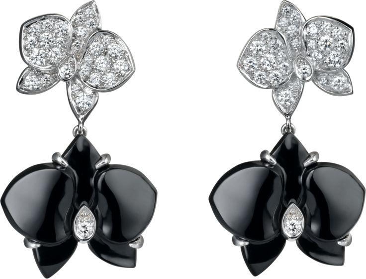 Caresse d'Orchidées par Cartier earrings White gold, onyx, diamonds