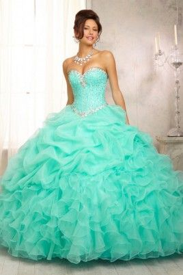 2016 Ball Gown Sweetheart Jewel Beaded Bodice Bubble And Ruffled  Organza Skirt