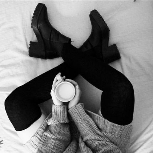 ..but first let me drink a coffee! #coffee #knit #sweater #bed #overkness #socks #boots #legs #warm #up