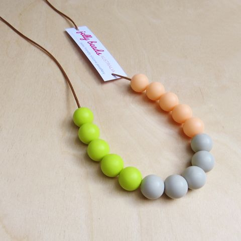 Spring Colours - baby friendly silicone beaded necklace: Lime, Stone & Peach