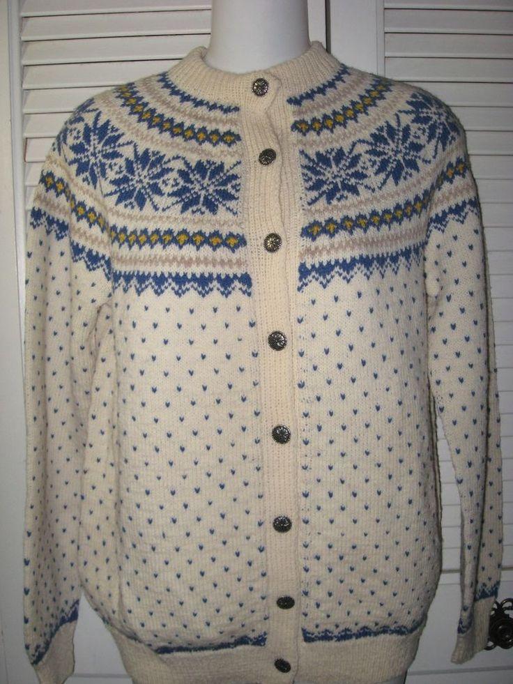 "Vtg.Siril Hand Knitted Sweater ""Snowflake"" Pattern Cream & Blue Norway Women Sm. #siril #Cardigan"