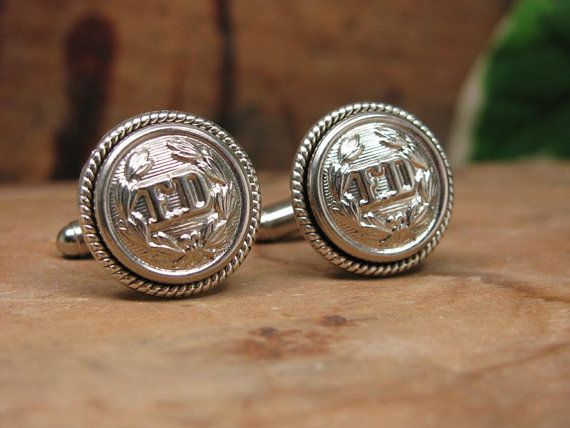 Button Jewelry - Authentic Silver Fireman FD Uniform Cuff Button Cuff Links - Remembering 911 - September 11