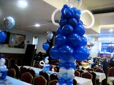Decoración en globos para bautizo de niño - Imagui
