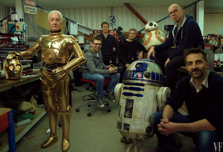 Off Duty Anthony Daniels as C-3PO, with droids R2-D2 and BB-8 and the Droid Department's Brian Herring, Dave Chapman, Matthew Denton, Lee Towersey, and Joshua Lee.