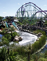 Gold Reef City Theme Park. This Roller Coaster (the Anaconda) is my absolute favorite. A thrill ride, with a beautiful view of Johannesburg.