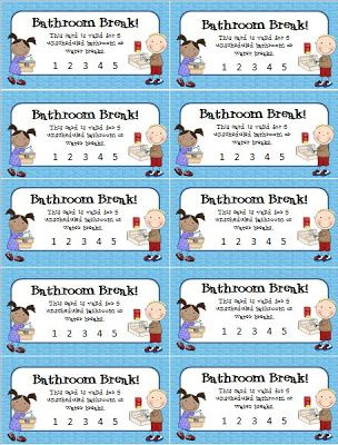 Bathroom Break punch cards to help curtail students who ask to go to the bathroom or get a drink a little too often!