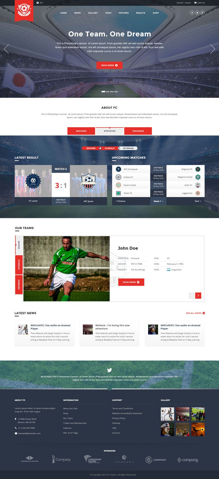 FC - Football Club Template (Soccer HTML) #site #team #soccer • Download ➝ https://themeforest.net/item/fc-football-club-template-soccer-html/10638733?ref=pxcr