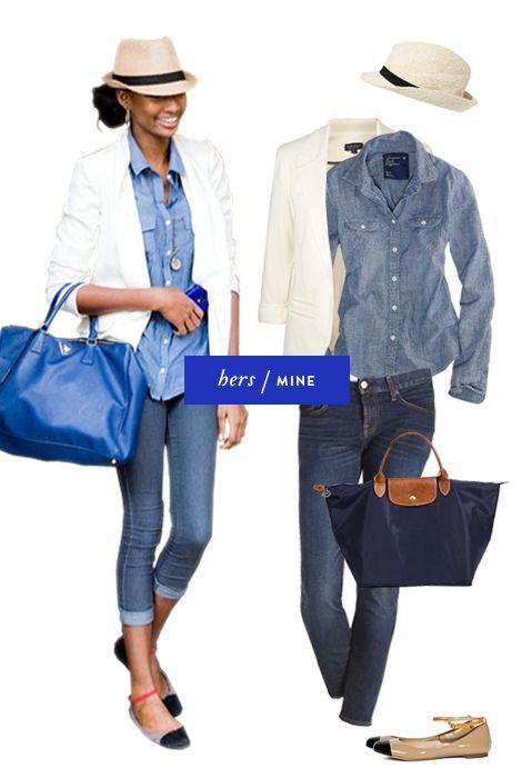 ASOS hat, Top Shop blazer, AE chambray buttondown, J.Crew ankle cropped jeans, Longchamp tote, Reiss shoes