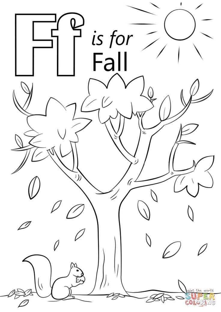 Letter F is for Fall coloring page | Free Printable ...