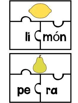 Este producto es un rompecabezas para 44 palabras de dos silabas. Hace buen practica para el reconocimiento fonologico. Alumnos separan las silabas y buscan las partes de cada palabra para nombrar la ilustracion hacia arriba.