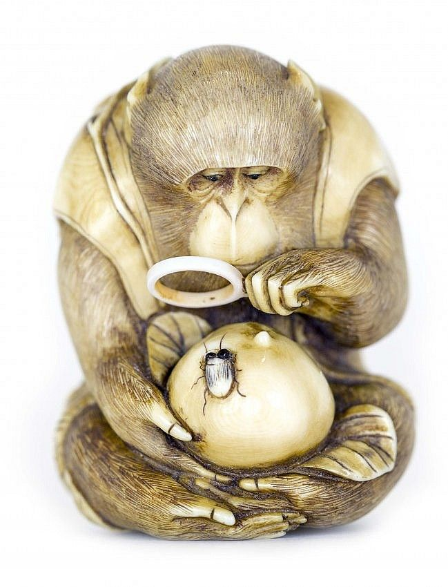 JAPANESE CARVED IVORY NETSUKE Meiji Period (1868-1912). Signed Masatami. Of a monkey, with a magnifying glass, viewing an insect on a persimmon. Height 1 1/2 inches