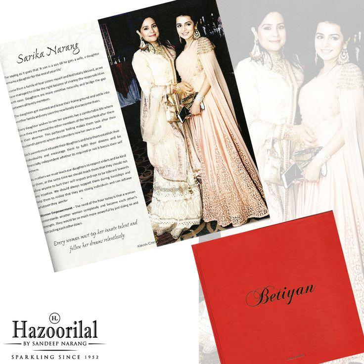 Poised Elegant Mrs Sarika Narang perfectly balances the role of a woman in all spheres of life .Read to get an insight on her views #Wife of Sandeep Narang being featured here in Betiyan from Punjab Kesri group.  #HazoorilalBySandeepNarang #HazoorilalPressRelease #SarikaNarang #TanyaNarang #Betiyan #PunjabKesari #ProudMoment #HazoorilalJewellers
