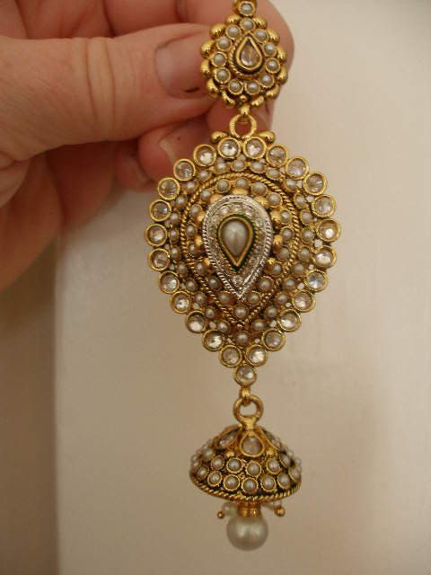 indian big earrings gold wide filigree