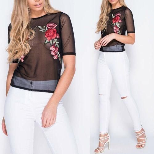 Women Floral Embroidered Mesh Ladies Crew Neck Casual Blouse Top (USA Stock)  #me #art #Cute #Shopping #tbt #design #Fashion #Beauty #friends #makeup