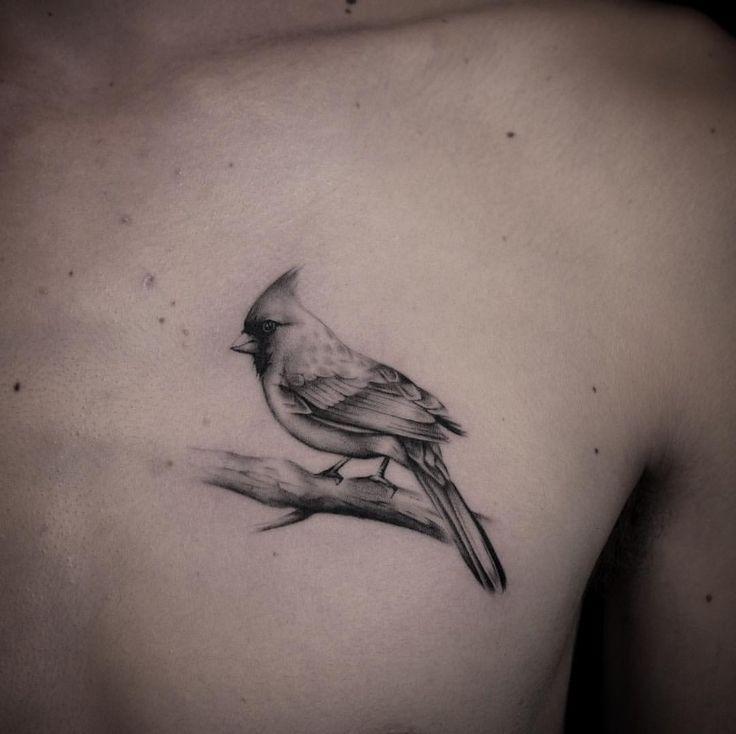 #cardinal #bird tattoo done by @pinkthroat